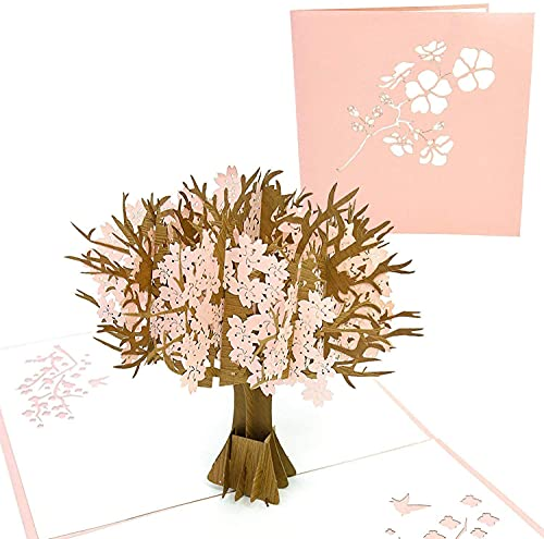 PopLife Pink Cherry Blossom Tree Mother's Day Pop Up Card - 3D Anniversary Pop Up, Happy Birthday, Wedding, Valentine's Day - Gift for Her - for Mom, for Daughter, for Wife, for Grandma, for Stepmom