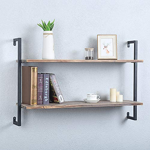 Barnyard Designs Furniture 4-Tier Etagere Bookcase, Solid Pine Open Wood Shelves, Rustic Modern Industrial Metal and Wood Style Bookshelf, Natural, 55