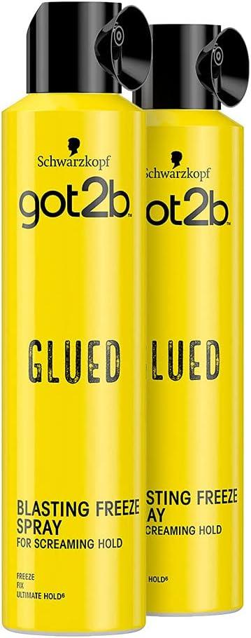 Schwarzkopf Got2b Glued Blasting Freeze, Laca Fijación Extrema, 300 ml, pack de 2