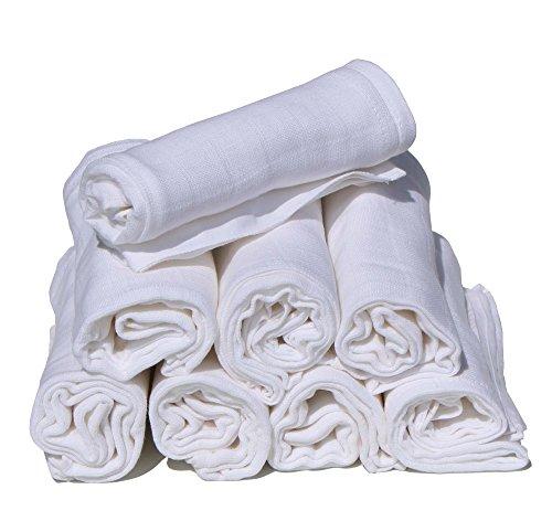 Pippi pippi Premium Mulltücher Set 8 Stück Spucktücher Mullwindeln doppelt gewebt (uni weiß)