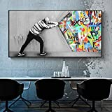 Street Graffiti Banksy Pop Art Detrás de la cortina Lienzo abstracto Pintura Póster Impresión de arte de pared Imagen para sala de estar 75x150cm Sin marco