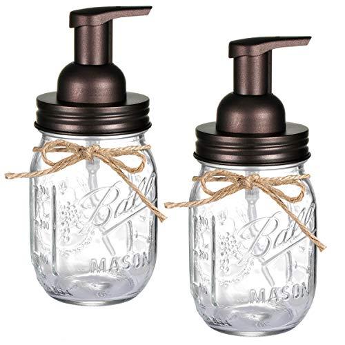 Mason Jar Seifenspender – mit 473 ml Ball Mason Jar für Badezimmer-Waschtische, Küchenspüle, Arbeitsplatten – aus rostfreiem Edelstahl Deckel und BPA-freie Pumpe / Bronze (2 Stück)