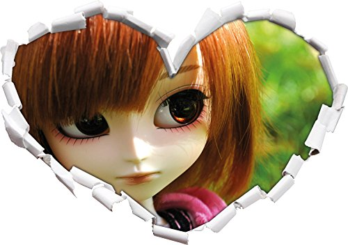 Tendre Pullip-Doll sur la Forme pré Coeur d'été Vert dans Le Regard 3D, Mur ou Un Autocollant de Porte Format: 62x43.5cm, Stickers muraux, Stickers muraux, Décoration Murale