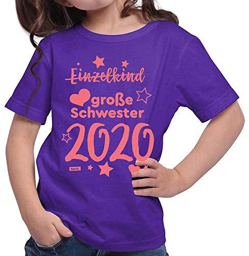 HARIZ HARIZ Mädchen T-Shirt Einzelkind Große Schwester 2020 Sterne Bruder Geburtstag Inkl. Geschenk Karte Lila 152/12-13 Jahre
