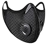 Face Shield with 2 Filter Sheet,Washable Reusable Protection Breathing Valve Black