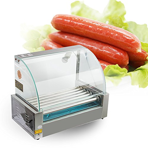 Commercial 18 Hot Dog Hotdog 7 Roller Grill Cooker Machine With Cover 1050W(Ship from USA)