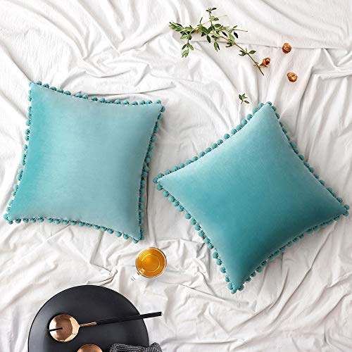 Woaboy Velvet Throw Pillow Covers Pom Decorative Pillowcases Solid Soft Square Cushion Covers with Poms Modern for Couch Living Room Sofa Bedroom Car 2 Pieces 26x26inch 65x65cm Teal Green