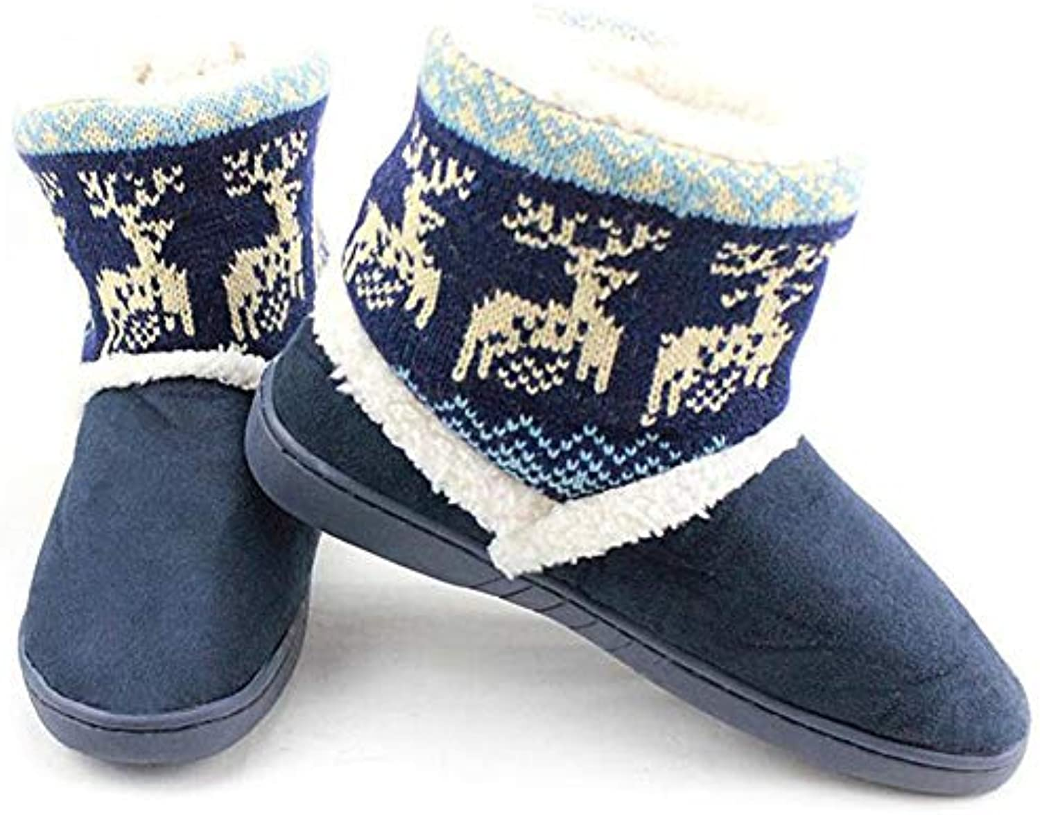 T-JULY Deer Snow Boots Women Thicken Mid-Calf Winter Warm Couple Plush Boots Fur Lined shoes Plus Size Winter shoes
