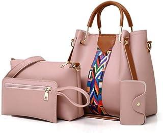 ZZZ Ds 2019 Women Messenger Bags For Ladies Handbag Fashion shoulder Bag Lady PU Leather Casual Female wristlets sac a main Set 4 Pcs fashion (Color : Pink)