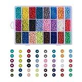 Cheriswelry - Cuentas heishi de arcilla polimérica de 4 mm con forma de disco, abalorios separadores redondos y planos para hacer bisutería, pulseras y pendientes, 7200 unidades, 24 colores