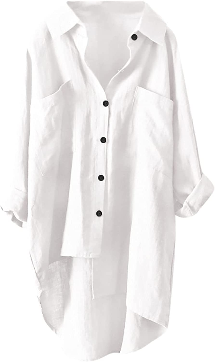 VEKDONE Oversized Button Down Shirts for Women Casual Cotton Linen Blouse Long Sleeve V Neck Tunic Tops Solid T Shirt Dress