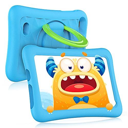 Z1 Kids Tablet de 7 pulgadas 32 GB ROM, Android 10 IPS HD Display WiFi Bluetooth Kidoz preinstalado con funda a prueba de niños (azul)