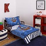 Little Tikes 4 Piece Pirates Toddler Bedding Set, Blue/Red/Black, 52'x28'