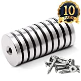 """FINDMAG 10 Pack 1.26""""D x 0.2""""H Neodymium Disc Countersunk Hole Magnets. Strong, Permanent, Rare Earth Magnets, with 10 Screws"""