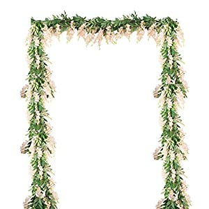 LESHABAYER 4Pcs 6Ft/Piece Artificial Flowers Fake Silk Wisteria Vine Bean Flower Rattan, Faux Flower Hanging Garland for Crafts Home Office Wedding Wall Party DIY Decoration (Light Pink)