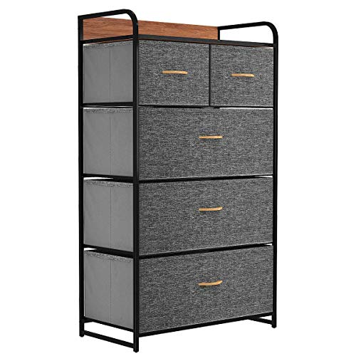YITAHOME Fabric Dresser with 5 Drawers - Storage Tower with Large Capacity, Organizer Unit for Bedroom, Living Room & Closets - Sturdy Steel Frame, Wooden Top & Easy Pull Fabric Bins (Dark Grey)