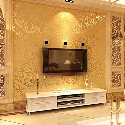 OCDAY European Style Luxury Damask Non-Woven 3D Wallpaper Embossed Wall Roll Paper Golden