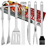 BBQ Grill Tools Set 9 Pieces Stainless Steel Barbecue Grilling Kit with Portable