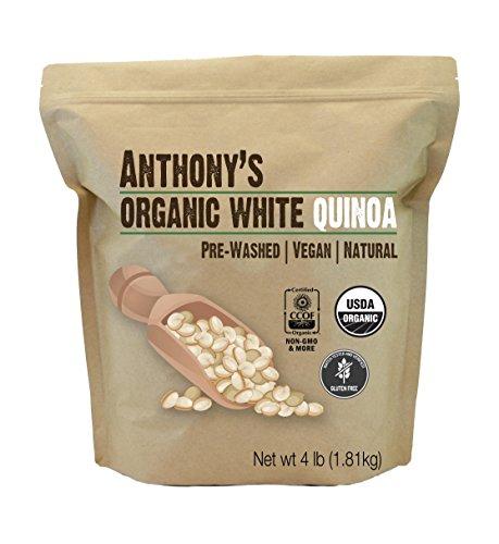 Anthony's Organic White Whole Grain Quinoa, 4 lb, Gluten Free & Non GMO