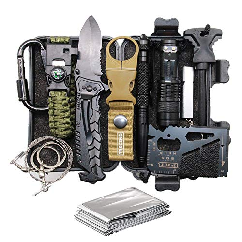 Cool & Unique Fathers Day Birthday Gifts for Him Men Husband Dad Boyfriend, Fun Gadget Mens Gifts Ideas, 11-in-1 Survival Gear Kits, EDC Emergency Tools and Everyday Carry Gear, Official Survival Kit