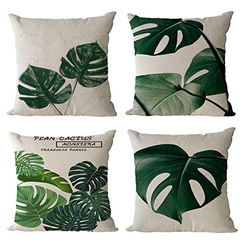 GenericBrands Cushion Covers Green leaves Cushion Covers Pillow covers Invisible Zipper Cushion Protectors Pillowcase for Car indoor Home Decorative 45 x 45 cm Set of 4