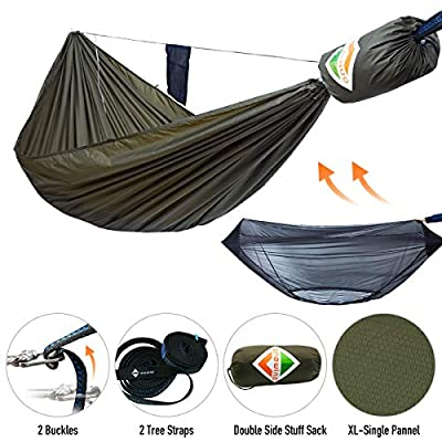 onewind XL Double Camping Hammock Mosquito Net Bundle Sets Include Tree Straps, Ridgeline, Compact Stuff Sack-Portable Nylon Hammock 10ft(Olive Green, 120 inch 68 inch)
