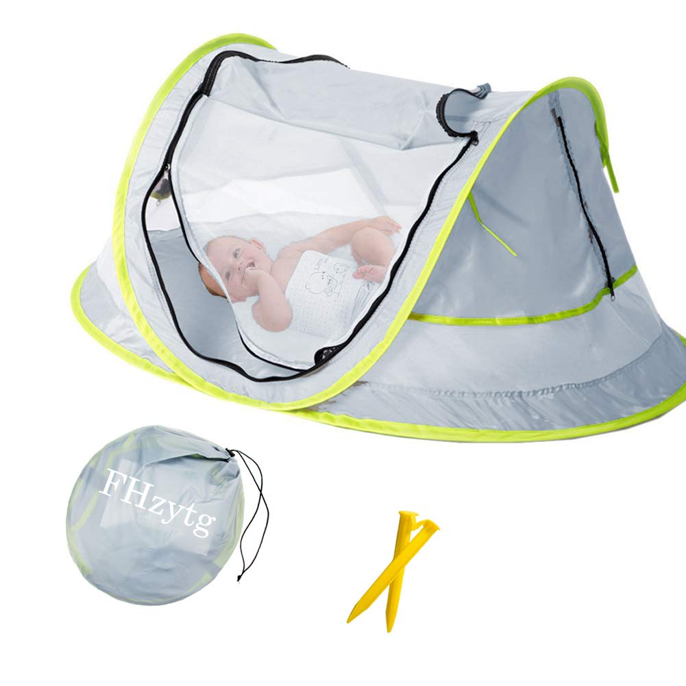 Large Baby Beach Tent, Portable Baby Travel Tent UPF 50+ Infant Sun Shelters Pop Up Folding Travel Bed Mosquito Net Sunshade with 2 Pegs