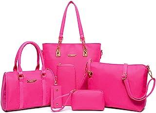 a37c38ea2a FiveloveTwo Femmes Mode 6Pcs Bag Set PU cuir Sac portés main + Fourre-Tout  + Sac à Bandoulière + Portefeuille + Titulaire de la Carte Pochettes  Clutches ...