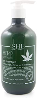 OM SHE Aromatherapy Hemp Seed Oil Shampoo - Dry & Damaged - 16.9 fl ozs (500ml) - Vegan Friendly - Paraben Free - Sulfate Free - Cruelty Free - Made in Australia