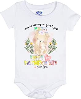 Happy 1st Mother's Day Bear Custom Personalized Baby Onesie - Baby Infant Bodysuit