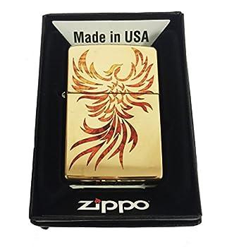 Zippo Custom Lighter - Flying Fire Bird Flaming Phoenix Spiritual Logo Fuzion - High Polish Brass - Gifts for Him for Her for Boys for Girls for Husband for Wife for Them for Men for Women