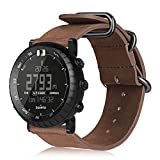Suunto Watch Band Compatible with Core, Fintie Leather Strap Replacement Wrist Bands with Metal Clasp Compatible with Suunto Core Smart Watch, Vintage Brown