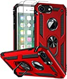 SunRemex Compatible with iPhone 8 Case iPhone 7 Case iPhone 6 Case iPhone 6s Case with Tempered Glass Screen Protector Military-Grade Protective Phone with Kickstand for iPhone 6/6s/7/8 (Red)