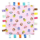 For the Love of Leisure Owl Security Blanket – 12in x 12in 150 Thread Cotton Comforter with Tags. Multi Colored Owl Pattern - Pink