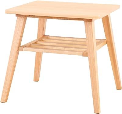 ナチュラル/サイドテーブル テーブル 50cm パソコン 天板 木製 ベッドサイド コーヒーテーブル ナチュラル 天然木 アッシュ材 収納棚 シンプル 北欧 カフェ風
