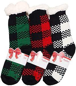 Angelina® - Calcetines térmicos de Navidad para mujer con etiquetas de regalo - Multi color - Talla única