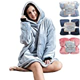 Pro Maison Oversized Unisex Blanket Hoodie with Sleeves, Hood, Large Front Pocket, Wearable Snuggle Blanket with Flannel, Sherpa Fleece,Giant Blanket Sweatshirt for Adults, Teens, Children - Grey