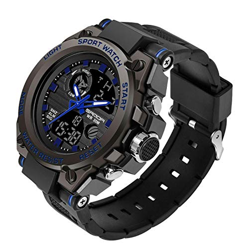 Men Military/Army Tactical Survival Watch- Multi-Function Dual Display Digital Sports Outdoor Boys Kinetic Watch-Waterproof LED Tough Electronic Alarm Wrist Watch(blue2)