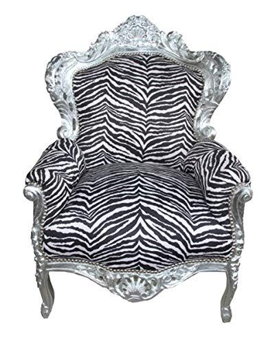 Casa Padrino Barock Sessel 'King' Zebra/Silber Antik Stil