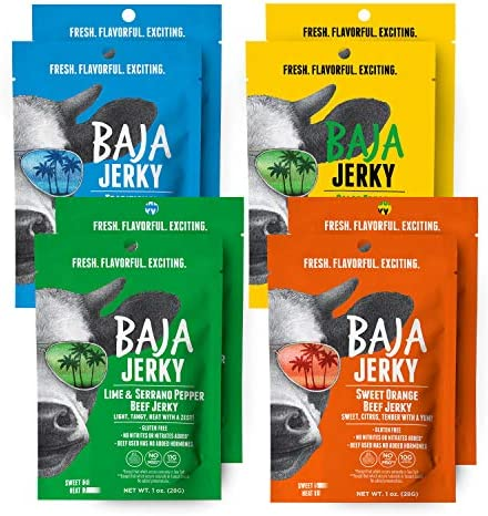 Baja Beef Jerky Variety Pack Keto Friendly Gluten Free Low Calorie Craft Jerky 25g Protein 100 product image