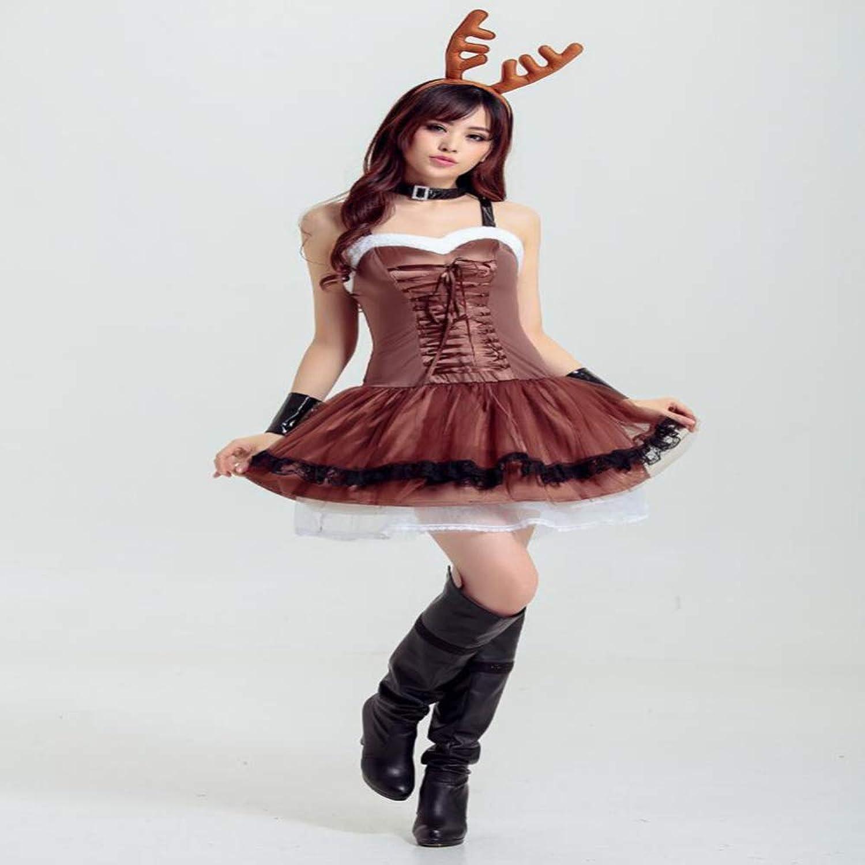 precios mas bajos CVCCV Nuevo 2018 Traje De De De Navidad Disfraz De Adulto Vestido De Fiesta Traje Falda De Navidad Material De AlgodóN Mujer (MarróN)  últimos estilos