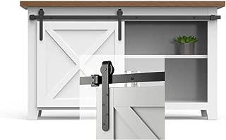 skysen 3ft Cabinet Sliding Barn Door Hardware Kit Super Mini Sliding Door Hardware for Wardrobe Cabinet TV Stand (ykc4)