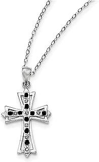 Lex & Lu Sterling Silver Diamond Mystique Black/White Dia Cross Necklace