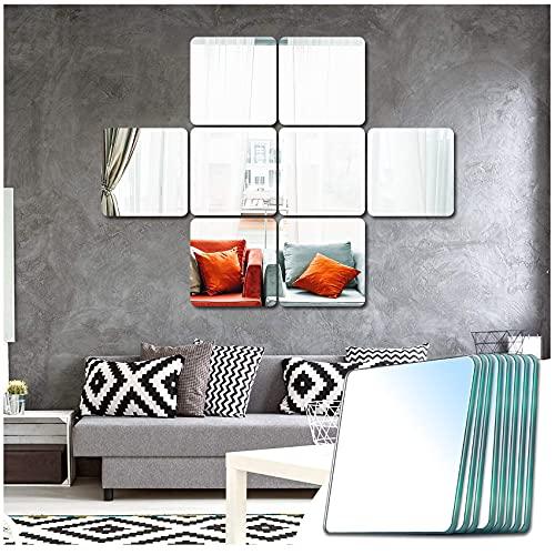 Sqinor Specchio Adesivo Quadrato Decorativi Specchi da Parete Lungo Grande per Armadio Palestra Ingresso Soggiorno Bagno (Rettifica Fine, 20.5x20.5cm, 8 Pezzi)