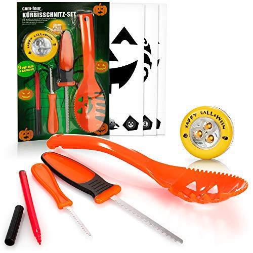 com-four® 14-teiliges Kürbis Schnitz-Set für Halloween - Schneide-Werkzeuge zum Aushöhlen von Kürbissen - Messer, Löffel, Stift, Schablonen und LED Kürbislicht (orange mit LED)