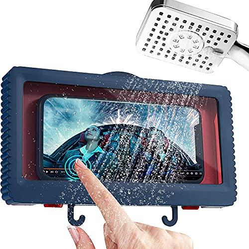 Soporte para Teléfono en la Ducha con Gancho, Estante de Pared para Teléfono en el Baño a Prueba de Agua, Caja de Almacenamiento Antiempañante para Teléfono de Menos de 6,8 Pulgadas, Azul.