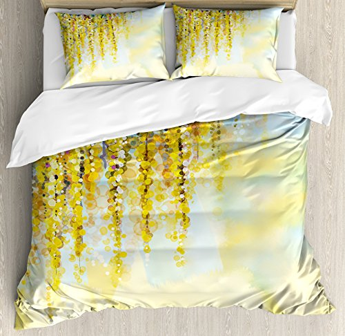 Ambesonne Watercolor Flower Duvet Cover Set, Charms of Golden Yellow Wisteria in Sunny Day Print, Decorative 3 Piece Bedding Set with 2 Pillow Shams, King Size, Blue Yellow
