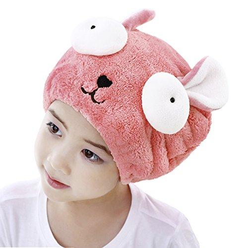 Asciugamano per capelli super assorbente, a forma di coniglio carino, in velluto di corallo, turbante per avvolgere i capelli e asciugarli rapidamente, asciugamano per bambini Pink