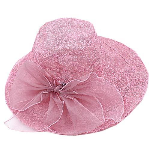 LDHY Der Hut der Frauen koreanische Version des Sommers blüht Eisseidensonnenhut-Sonnenhut-Sonnenschutzlinie Seidenhutblumengarnhut-Feiertagshut - Rosa-A-1101-Standardsize(55-58cm)