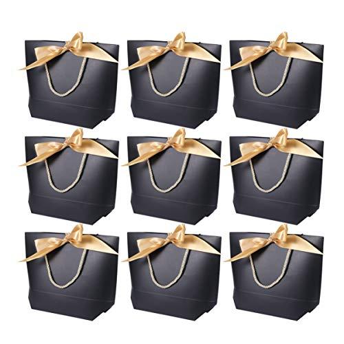NUOBESTY Bolsos de Fiesta de Papel con Asas 24 Piezas 27. 8X19. Bolsas de Recuerdo Duraderas de Cartón de 8X10 Cm con Bolsa de Regalo de Cinta de Arco Que Presenta Bolsos de Viaje de Bolsa de Regalo